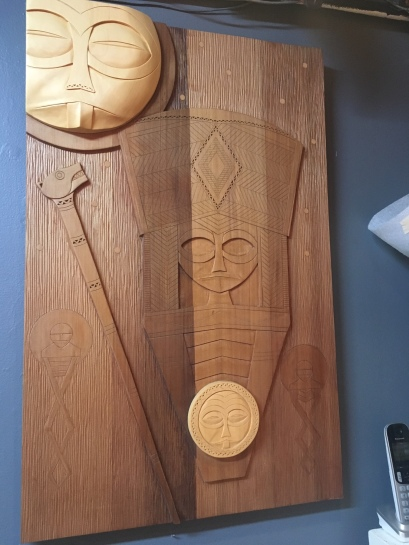 A peek at carved works by Greg A Robinson that will be on view in the Portland Japanese Garden exhibition, Forest of Dreams: Ainu and Columbia River Wood Carving, June 8, 2019